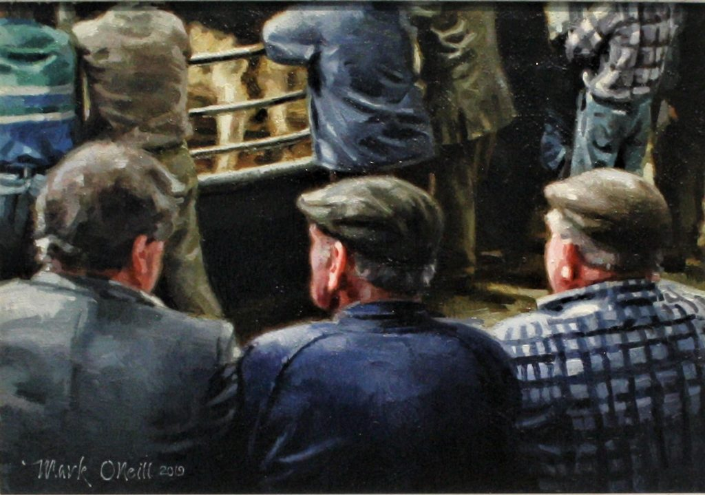 The Observers…Oil on Board by Mark O'Neill 28x41cm.