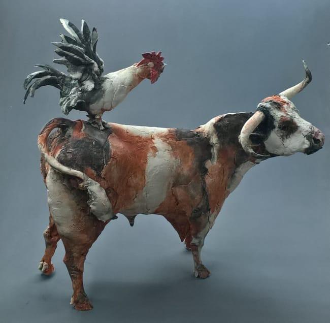 Cock & Bull  Ceramic Sculpture  by Ostinelli & Priest