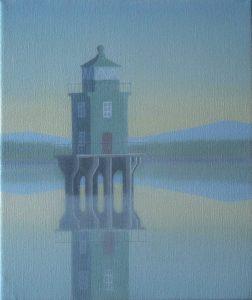 Harbour Light , Oil on canvas 25cm by 30cm