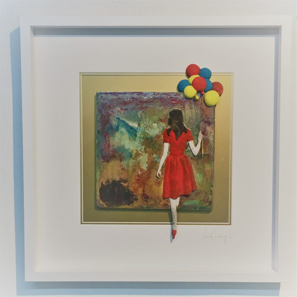 """Girl with Balloons""   Ceramic Wall hanging by Ian Carty"